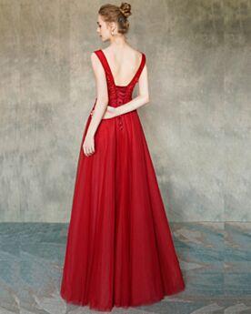 Rückenausschnitt A Linie Ballkleider V Ausschnitt Partykleider Abendkleider Rot Elegante Lange
