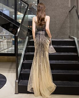 Low Cut Tulle Formal Dresses Sparkly Long Beading