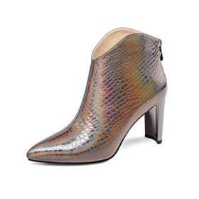 Winter Leren Blokhakken Enkellaarsjes Chelsea Boots Runtige Neus Modern Metallic