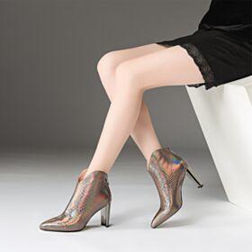 Metallic Bequeme Chelsea Spitz Zeh Leder Chunky Heel Stiefeletten