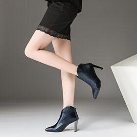 Modernos Azul Marino Forradas De Pelo De Piel Tacon Ancho Botines De Mujer Chelsea Boots 8 cm Tacon Alto Charol