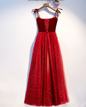Knöchellänge Brautjungfernkleider Schlichte Cocktailkleider Rot Samt Eckigem Ausschnitt Spaghettiträger
