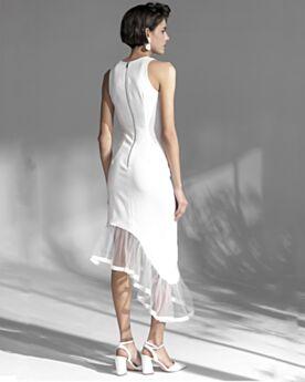 Fourreau Simple Blanche Asymétrique Belle Tulle Robe De Cocktail Sans Manches Robe De Fête