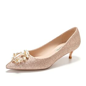 Sparkly Quinceanera Shoes Gorgeous Bridals Wedding Shoes Champagne Pumps Glitter 1 inch Kitten Heel With Pearl Stilettos Evening Shoes