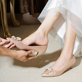 Luccicante Scarpe Da Sposa Con Perle A Punta Decollete Scarpe Cerimonia Con Tacco Basso