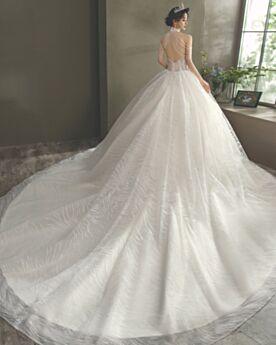 Bruidsjurken Hoge Kraag Halter Franjes Witte Open Shoulder Pailletten Met Staart Mouwloze Luxe Sparkle Baljurk