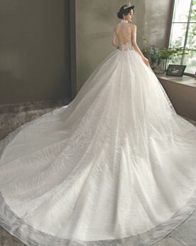 Turtleneck Ball Gown Sequin Backless Halter Fringe Gorgeous With Train Cold Shoulder White Sleeveless Wedding Dresses Garden