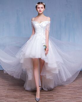 Short See Through Beach Wedding Dress Reception High-Low Backless Summer 2018 Off The Shoulder Lace Bridal Gown Spaghetti Strap