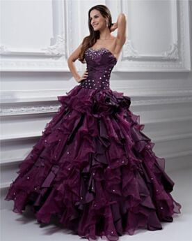 Sweetheart Plum Vintage Ruffle Sleeveless Maxi Pleated Prom Dress Ball Gowns Strapless Beaded