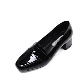 Petit Talon Carré Vernis Cuir Chaussures Travail Noir Loafers Classique Talon Carrés