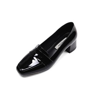 Work Shoes Loafers Patent Thick Heel Leather 2018 Kitten Heel Heeled Black