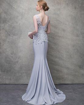 Evening Dress Prom Dress Mermaid Summer Sleeveless Occasion Gowns 2018 Open Back Bridesmaid Dress Lace Long Beautiful Chiffon