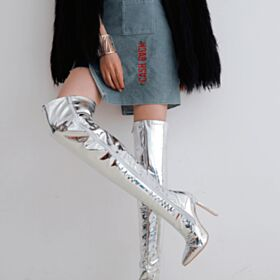Silver Pointed Toe Over Knee Boots Sparkly 12 cm Fur Lined High Heel Boots Patent Stilettos