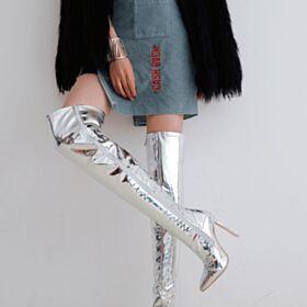 Stiefel Stilettos Glitzernden Mit Absatz Winter 2018 High Heels 12 cm Silber Overknee