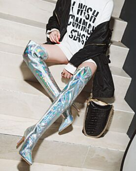Brillantes Plateados Tacones Altos 9 cm Mosqueteras Botas Altas Mujer Stilettos En Punta Fina