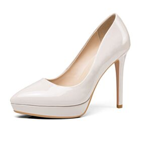 Patent Classic White Pointed Toe High Heel Work Shoes 12 cm Leather Stilettos Pumps Dress Shoes