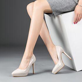 Stiletto Tacon Alto Vestido Para Trabajo Blancos De Piel Zapatos Tacon
