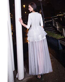 Elegante Halve Mouw Laag Uitgesneden Enkellange Split Witte Cocktailjurk Overhemd