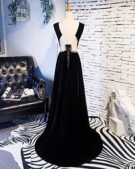 Abendkleider Samt Mit Schleppe Tiefer Ausschnitt Strasssteine Schwarz Transparentes Empire Rückenfreies Lange Sexy