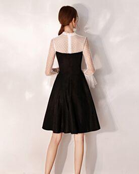 Svasato Velluto Nero In Pizzo Abito Da Cocktail Corti Collo Alto Balze Maniche Lunghe Little Black Dress Vestiti Cerimonia