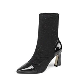 8 cm High Heel Ankle Boots Black Pointed Toe Tulle Boots For Women Leather Glitter Thick Heel