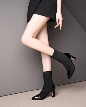 Leder 2019 Chunky Heel Schwarz Pailletten Ankle Boots