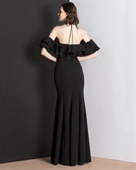 Schlichte Vintage Rüschen Rückenausschnitt Chiffon Abendkleider Hochzeitsgäste Schwarz Etui Lange Kleider Für Festliche