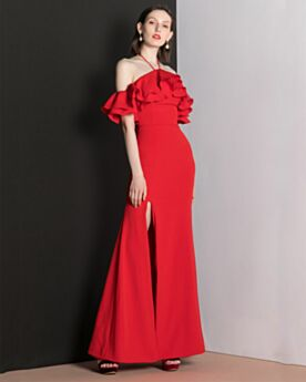 Slit Vintage Long Backless Formal Dresses Off The Shoulder Sheath Chiffon Red Halter Simple