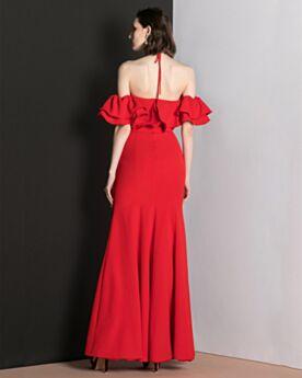 Originale Longue À Volants Robe De Soirée Fendue Fourreau Robe Pour Mariage Mousseline Rouge Epaule Dénudée Dos Nu