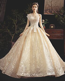 Princess Sleeveless Champagne Bridal Gowns Ruffle Lace Sequin Luxury Bandeau