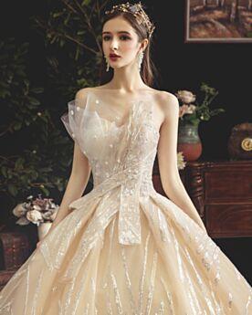 Spitzen Tüll Brautkleider Glitzernden Pailletten Rückenausschnitt 2020