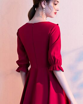 Fit And Flare Simple Burgundy Ruffle Occasion Gowns Semi Formal Dress Half Sleeve Short