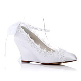 Élégant Chaussure Mariée Bride Cheville Perle Escarpins Appliques Bout Pointu Compensées Blanche