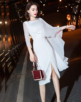 Graduation Dress Ruffle Chiffon Cocktail Dress Sheath Long Sleeved White Simple