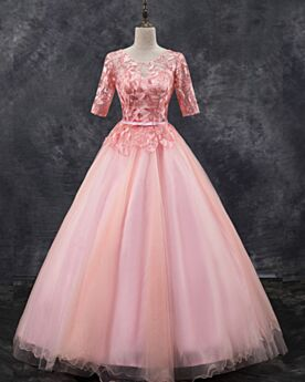 レース ボール ガウン カラードレス プロムドレス ピンク オープンバック 可愛い チュール 3421220718