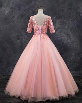 Estilo Princesa Rosa Viejo Vestidos De Quinceañera Vestidos Prom Bonitos Largos Vestidos De Fiesta