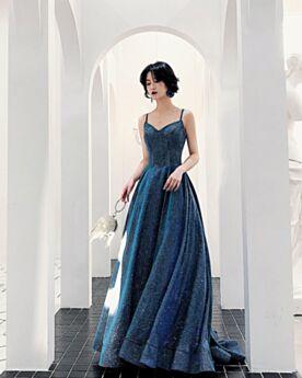 Backless Simple Formal Evening Dresses Dark Blue Princess Spaghetti Strap Long Sequin Sleeveless Sparkly