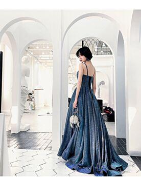 Robe Soirée Princesse Simple Dos Nu Sequin Brillante Longue