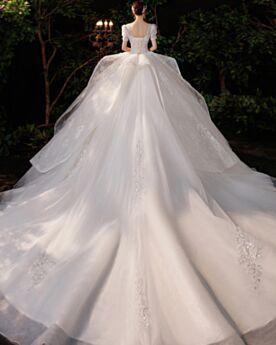 Weiss Elegante Spitzen Rückenausschnitt Rundhalsausschnitt Brautkleider Prinzessin Lange Luxus Perlen