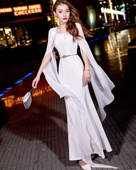 Long Sleeves White Simple Beautiful Formal Evening Dresses Sheath Chiffon