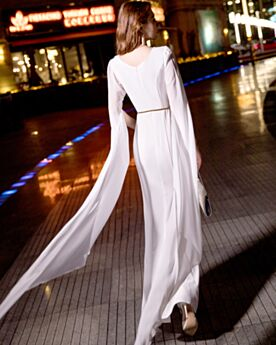 Long Sleeves White Simple Beautiful Formal Evening Dresses Sheath Chiffon