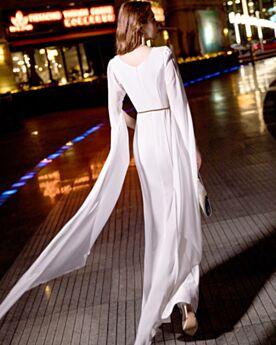 Simple Blanche Ceinture Robe Fiancaille 2019 Mousseline Robe De Soirée Manche Cloche Belle Fourreau Manche Longue