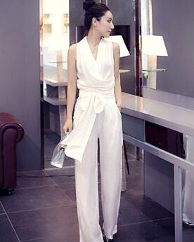 Noeud Printemps Maxi Combinaison Portefeuille Simple Pantalon Taille Haute Sans Manches Blanche Robe Casual