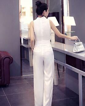 Weite Beinhose Wickel High Waist Business Jumpsuit Baumwolle Weiß V Ausschnitt Schlichte Ärmellos