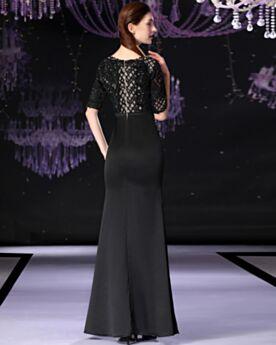 Abendkleid Applikationen Schwarze Lange Elegante Satin Kleider Für Festliche Spitzen Brautmutterkleid V Ausschnitt