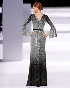 Silver Backless Formal Evening Dress Long Sequin Bell Sleeved Sparkly Long Sleeved