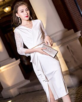 Sheath With Belt Long Sleeve White Ruffle Lace Tea Length Wrap Satin Graduation Dress Semi Formal Party Dress Party Gowns Charming 2019