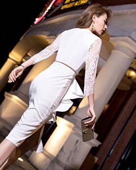 Con Encaje Elegantes Por Debajo De La Rodilla Con Cinturon Wrap Volantes Vestidos De Graduacion Escote V De Satin Vestidos Semi Formales Ajustados Con Manga Larga Blancos