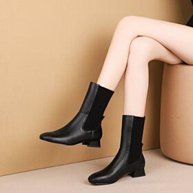 Casuales Botas Calcetin Punto Botines De Mujer De Piel Negros Tacon Bajo De 3 cm Tacon Ancho