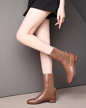 Strick Stiefeletten Chunky Heel Braun 3 cm Kitten Heel Sock Boots